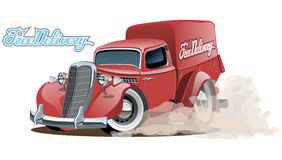 Bestelwagen van de beeldverhaal retro levering Stock Foto's