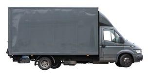 Bestelwagengrijs om zich te vervoeren of te bewegen geïsoleerd op witte achtergrond Stock Foto's