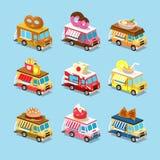 Bestelwagens met Voedsel in Stijl Isometrisch Stock Foto's