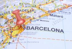 Bestemming Barcelona op de kaart van Spanje Royalty-vrije Stock Afbeeldingen