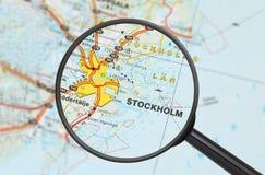 Bestemming - Stockholm (met vergrootglas) Royalty-vrije Stock Fotografie