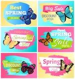 Bester Frühlings-Rabatt 30 weg von den Aufkleber-Schmetterlingen vektor abbildung