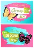 Bester Frühlings-Rabatt 30 weg von den Kennsatzfamilie-Schmetterlingen vektor abbildung