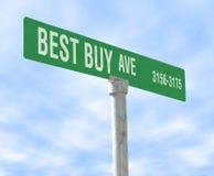 Bester Kauf-themenorientiertes Straßenschild Lizenzfreie Stockfotografie