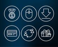 Bester Rang, Downloading- und Computermäuseikonen Kreditkarte-, Benutzerkommunikation und Feiertagsgeschenke unterzeichnet Lizenzfreies Stockfoto