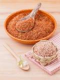 Bester Reis des ganzen Reises des Kornes traditionellen thailändischen für gesundes und sauberes Lebensmittel Stockbild