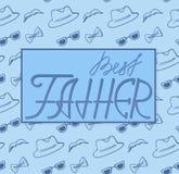 Bester Vater Hut, Gläser und Schnurrbartmuster Lizenzfreie Stockfotografie