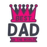Bester Vati im Welttypographiedesign mit einer großen Krone Vektorillustrationen des Vaters s Tages Stockfoto