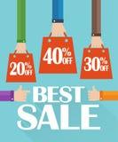 Bester Verkauf des flachen Designs, Einkaufstasche Stockbilder