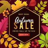 Bestes Abkommen Autumn Sale Poster Template Design stock abbildung