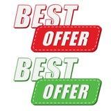 Bestes Angebot in zwei färbt Aufkleber, flaches Design Stockfoto