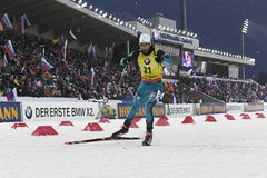 Bestes biathlete der Jahreszeit 2017/2018 Martin Fourcade France Lizenzfreie Stockfotografie