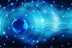 Bestes Internet-Konzept des globalen Geschäfts, abstrakter Technologiehintergrund Digital Elektronik, Wi-Fi, Strahlen, Symbole In stock abbildung