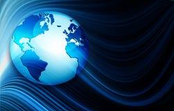 Bestes Internet-Konzept des globalen Geschäfts Kugel, glühende Linien auf technologischem Hintergrund Wi-Fi, Strahlen, Symbole Lizenzfreie Stockfotografie
