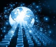 Bestes Internet-Konzept des globalen Geschäfts Kugel, glühende Linien auf technologischem Hintergrund Wi-Fi, Strahlen, Symbole Stockfotos