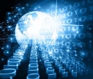 Bestes Internet-Konzept des globalen Geschäfts Kugel, glühende Linien auf technologischem Hintergrund Wi-Fi, Strahlen, Symbole Lizenzfreie Stockbilder