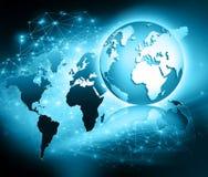 Bestes Internet-Konzept des globalen Geschäfts Kugel, glühende Linien auf technologischem Hintergrund Wi-Fi, Strahlen, Symbole Lizenzfreie Stockfotos