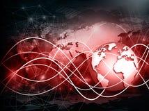Bestes Internet-Konzept des globalen Geschäfts Kugel, glühende Linien auf technologischem Hintergrund Wi-Fi, Strahlen, Symbole Lizenzfreies Stockfoto