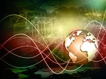 Bestes Internet-Konzept des globalen Geschäfts Kugel, glühende Linien auf technologischem Hintergrund Wi-Fi, Strahlen, Symbole Stockfotografie
