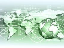 Bestes Internet-Konzept des globalen Geschäfts Kugel, glühende Linien auf technologischem Hintergrund Wi-Fi, Strahlen, Symbole Stockbilder