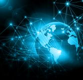Bestes Internet-Konzept des globalen Geschäfts Kugel, glühende Linien auf technologischem Hintergrund Wi-Fi, Strahlen, Symbole Stockfoto