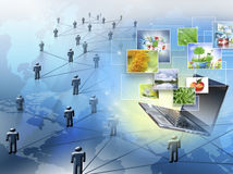 Bestes Internet-Konzept des globalen Geschäfts Kugel, Laptop auf technologischem Hintergrund Elektronik, Wi-Fi, Strahlen, Symbole Stockfotos