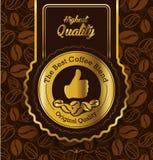 Bestes Markenkaffee-Aufkleberdesign, erstklassiges Kaffeelabor Stockfotos