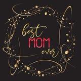 Bestes Textdesign der Mutter überhaupt in der realistischen Art für glückliche Tagesfeier der Mutter-s Vektorillustration für Gru Lizenzfreies Stockbild