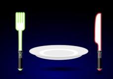 Bestick från framtid Kniv och gaffel som det ljusa svärdet Tomma plommoner Royaltyfri Bild
