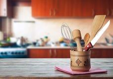 Bestick i köket Arkivbilder