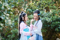 Bestie étroit d'amies dans le costume antique traditionnel chinois Image stock