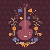 Beståndsdel för blom- design med basfiolen Arkivbilder