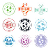 Beståndsdel för design för emblem för fotbollfotbolltypografi Arkivfoto
