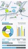 Beståndsdelar av Infographics med knappar och menyer Royaltyfri Fotografi