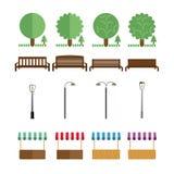 Beståndsdelar av parkera, bänkar, ljus, marknadstält, i olika färger Arkivbild