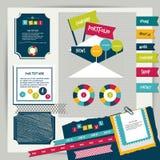 Beståndsdelar för portfölj för tappning för rengöringsdukdesign. Arkivfoto