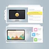 Beståndsdelar för Websitedesigninfographics: Vcard portföljmall med datoren, bildskärmen och symboler Arkivfoto