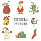 Beståndsdelar och illustrationer för jul som retro märker Arkivbild