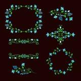 Beståndsdeluppsättning för blom- design, dekorativa ramar för åldergarnering Royaltyfri Foto