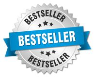 Bestseller. Silver badge with blue ribbon royalty free illustration