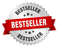 Bestseller 3d silver badge. With red ribbon Stock Photo