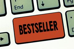 Bestseller de la demostración de la muestra del texto Producto conceptual del libro de la foto vendido en literatura acertada de  imagen de archivo libre de regalías