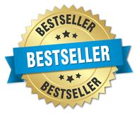 Bestseller. Gold badge with blue ribbon stock illustration