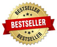 Bestseller. Gold badge with red ribbon royalty free illustration