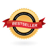 Bestseller gold sign. Gold bestseller sign with red ribbon in front of it Royalty Free Stock Image