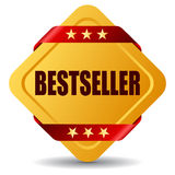 Bestseller icon. Bestseller gold icon with red ribbon Royalty Free Stock Photo