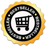 Bestseller label. With shopping cart stock illustration