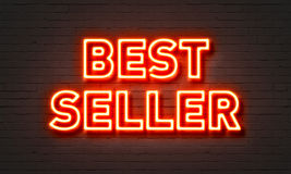 Bestseller neon sign on brick wall background. Royalty Free Stock Image