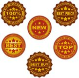 Bestseller new product. Bestseller, new product best buy vector stamps Stock Photography