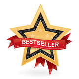 Bestseller promotional sign - gold star wit. H red ribbon Royalty Free Stock Image